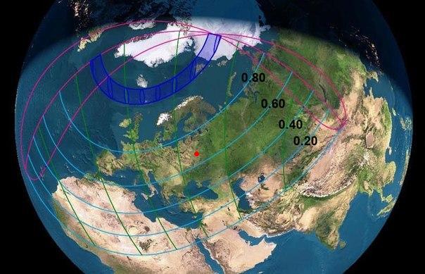 Карта  полного  солнечного  затмения  20  марта  2015  года